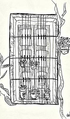 Drawing - Window In The Old Center Of Lanjaron by Chani Demuijlder