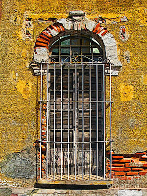 Window In The Yellow Wall By Darian Day Art Print by Mexicolors Art Photography