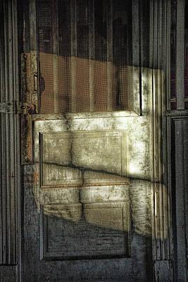 Window Light And Shadows On Locked Door Art Print