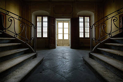Art Print featuring the photograph Window Light On Dark Stairs by Dirk Ercken