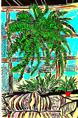 Still Life Drawings - Window Loving Fern by Al Goldfarb