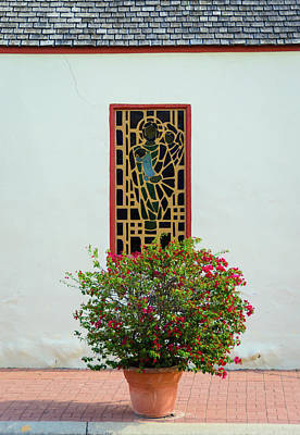 Photograph - Window Of Capilla Santa Ana - Roma Texas by Debra Martz