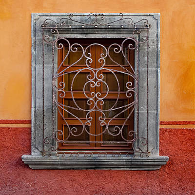Window On Orange Wall San Miguel De Allende Art Print by Carol Leigh