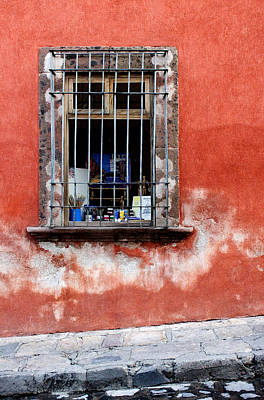 Guanajuato Photograph - Window On Red Wall San Miguel De Allende, Mexico by Carol Leigh