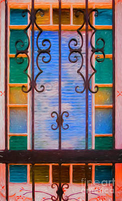 Photograph - Window Panes And Iron Bars-nola by Kathleen K Parker