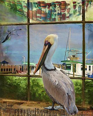 Digital Art - Window Pelican by Sandra Schiffner