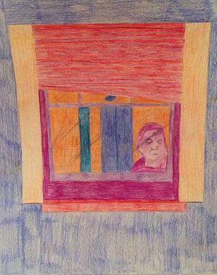 Drawing - Window Reflection  by Samantha L