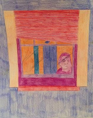 Drawing - Window Reflection  by Samantha L