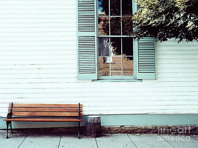 Photograph - Window, Shutters, Reflection, And A Bench by Merton Allen