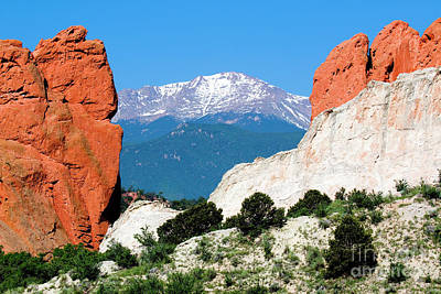 Steven Krull Royalty-Free and Rights-Managed Images - Window Through Garden of the Gods to Pikes Peak by Steven Krull