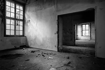 Window To Window - Abandoned School Building Bw Art Print by Dirk Ercken
