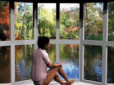 Digital Art - Window View by Nancy Pauling
