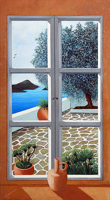 Window With A View, Santorini - Prints From Original Oil Painting Art Print