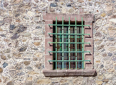 Bar San Miguel Photograph - Window With Bars And Stone Wall by Douglas J Fisher
