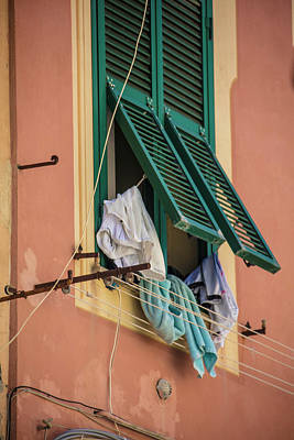 Photograph - Window With Clothes In Cinque Terre Italy  by John McGraw