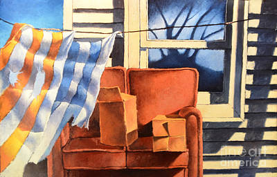 Painting - Window With Couch And Towels by Christopher Shellhammer