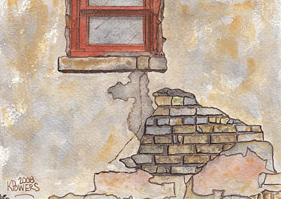 Mountain Landscape - Window with Crumbling Plaster by Ken Powers