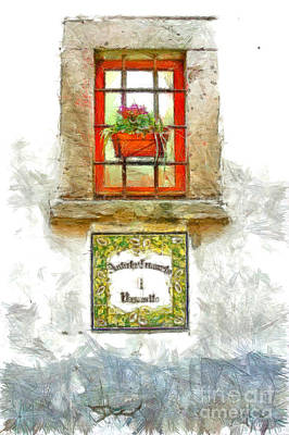Digital Art - Window With Flower Pot by Giuseppe Cocco