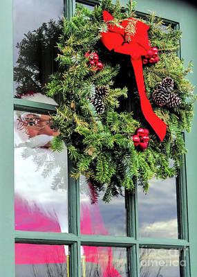 Photograph - Windowpane Santa  by Janice Drew