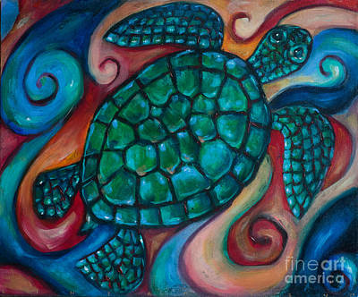 Windowpane Sea Turtle Art Print by Linda Olsen