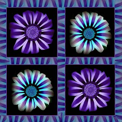 Windowpanes Brimming With  Moonburst Stripes Of Flowers - Scene 1 Art Print by Jacqueline Migell