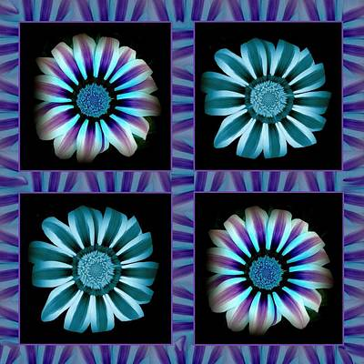 Windowpanes Brimming With  Moonburst Stripes Of Flowers - Scene 2 Art Print by Jacqueline Migell
