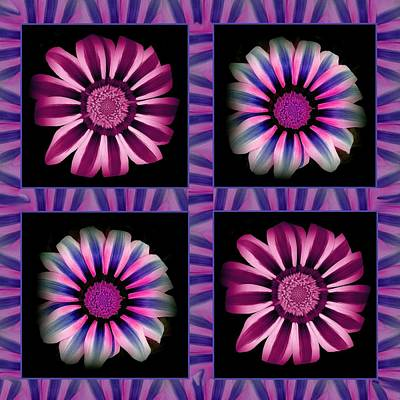 Windowpanes Brimming With  Moonburst Stripes Of Flowers - Scene 3 Art Print by Jacqueline Migell