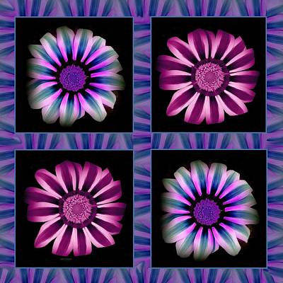 Windowpanes Brimming With  Moonburst Stripes Of Flowers - Scene 5 Art Print by Jacqueline Migell