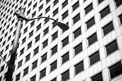 Photograph - Windows And A Street Light In Black And White by Anthony Doudt