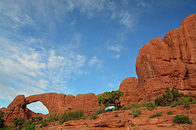 Photograph - Windows Arches With Wispy Clouds by Bruce Gourley