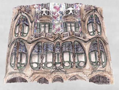 Gaudi Drawing - Windows At Casa Batllo Barcelona by Gerald Blaikie