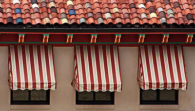 Photograph - Windows - Awnings - Tiles by Nikolyn McDonald