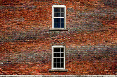 Photograph - Windows In Brick  -  1878brickbarnwallwithwindows184669 by Frank J Benz