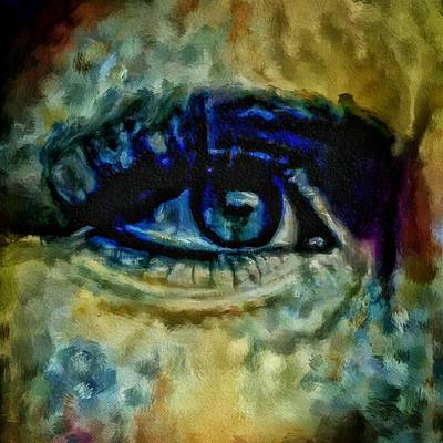 Painting - Windows Into The Soul Eye Painting Closeup All Seeing Eye In Blue Pink Red Magenta Yellow Eye Of Go by MendyZ