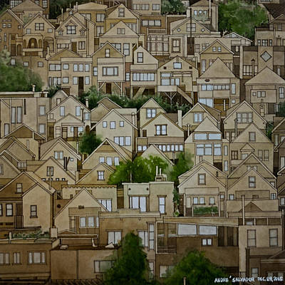Painting - Windows Of Bernal Heights by Andre Salvador