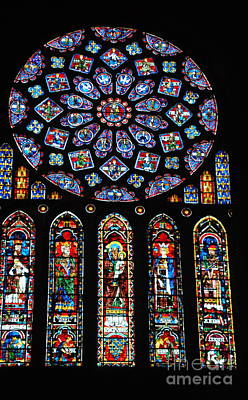 Photograph -  Windows Of Chartres Cathedral by Jacqueline M Lewis