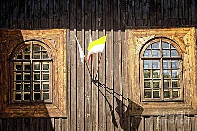 Photograph - Windows Of Old Wooden Church Wall by Elzbieta Fazel