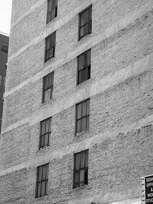 Photograph - Windows On A Wall In Dtla Bw by Hold Still Photography
