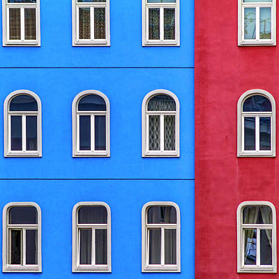 Photograph - Windows On Red And Blue by Roberto Pagani