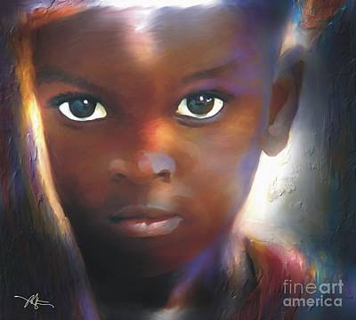 African Child Painting - Windows To The Soul by Bob Salo