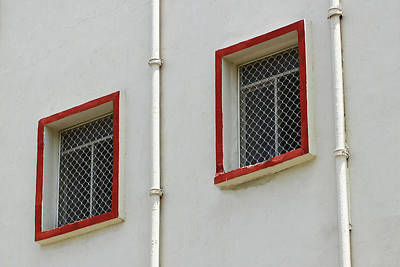 Photograph - Windows With Red Border by Prakash Ghai