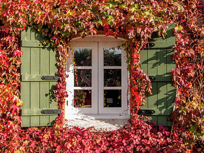 Photograph - Window,shutters,and Fall Colors by Bill Gallagher