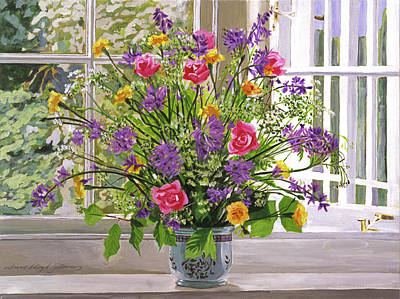Window Sill Painting - Windowsill Bouquet by David Lloyd Glover