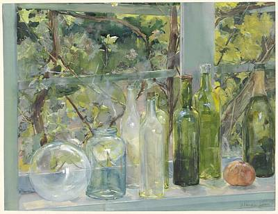 Painting - Windowsill With Bottles, A Glass Globe And An Apple, Menso Kamerlingh Onnes, C. 1892 by Celestial Images