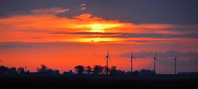 Photograph - Windpower Sunrise Panorama by Bonfire Photography