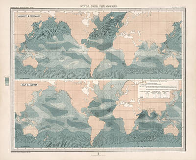 Drawing - Winds Over The Oceans - Meteorological Map - Geological Map - Wind Direction And Speed Chart by Studio Grafiikka