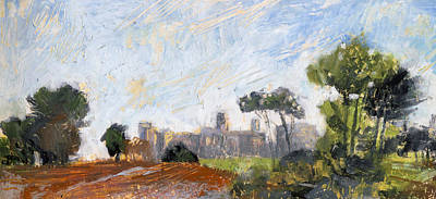 Painting - Windsor Castle , Oil Pastel After William Turner by Martin Stankewitz