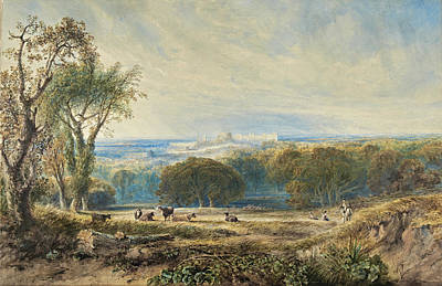 Drawing - Windsor Castle From The Park by Anthony Vandyke Copley Fielding