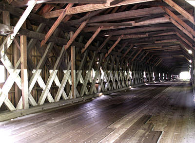 Photograph - Windsor Cornish Covered Bridge Interior by Nancy Griswold