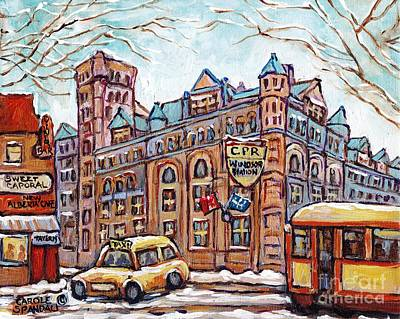 Painting - Windsor Station Winter Scene Canadian Pacific Van Horne Heritage Railway Landmark Painting C Spandau by Carole Spandau